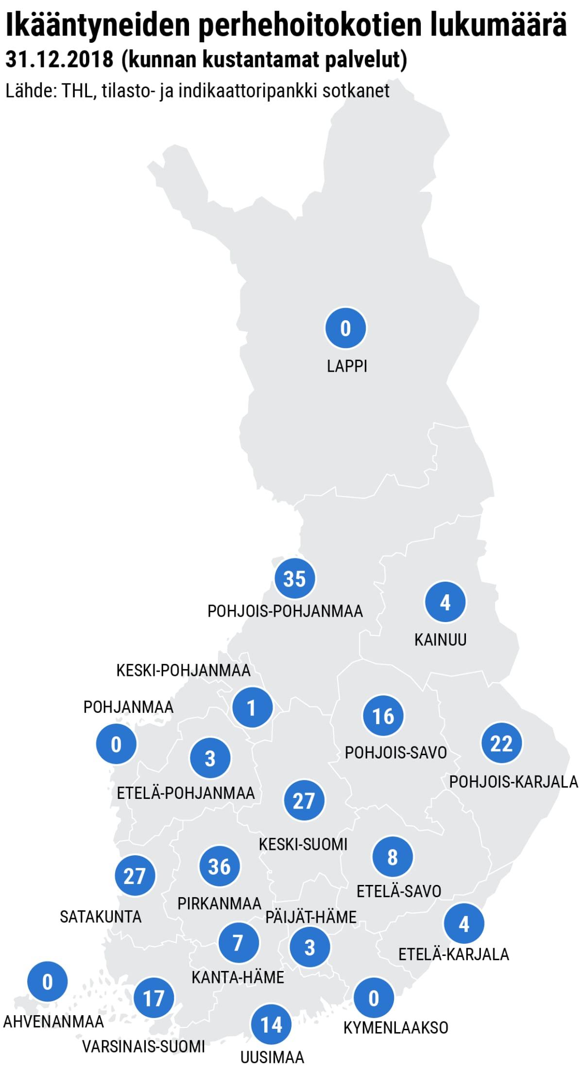 Suomen kartta, jossa merkitty perhehoitokotien määrä maakunnittain.