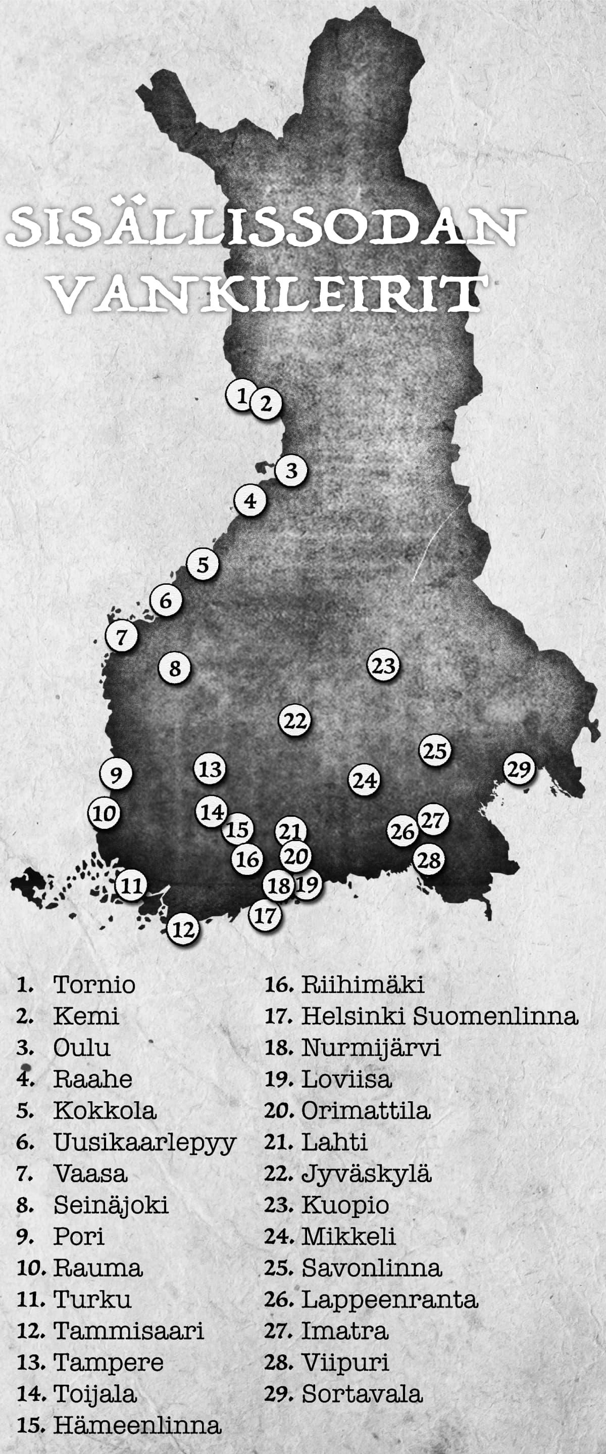 Grafiikassa kartalla Suomen sisällissodan vankileirit