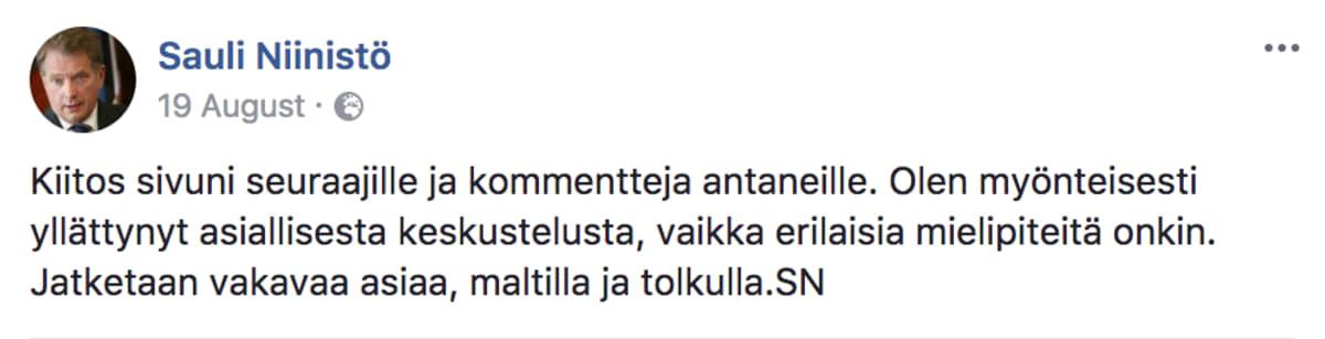 Sauli Niinistön Facebookpäivitys 19.8.2017.