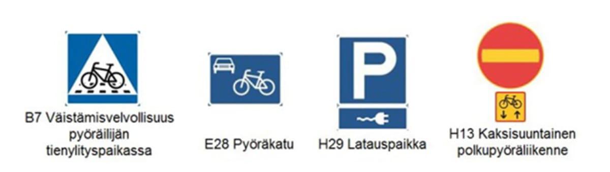 Liikenne- ja viestintäministeriön esittämiä uusia liikennemerkkejä.