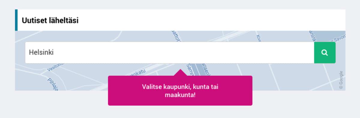 Yle.fi/uutiset-sivuston aluehaku.
