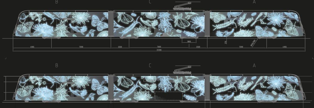 Taideratikan voittajakuvassa on heijastettu luontokuvia kylkeen
