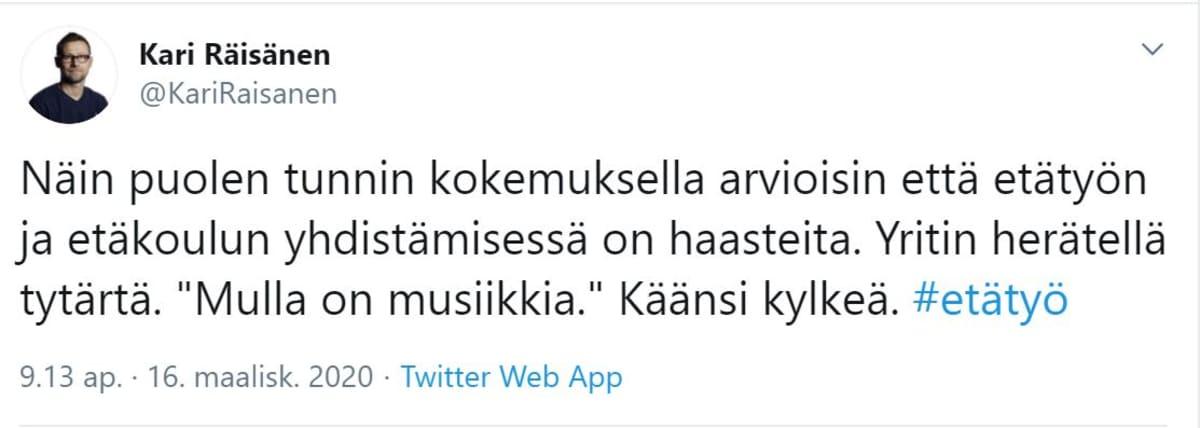 Kari Räisänen twiitti etätyöstä