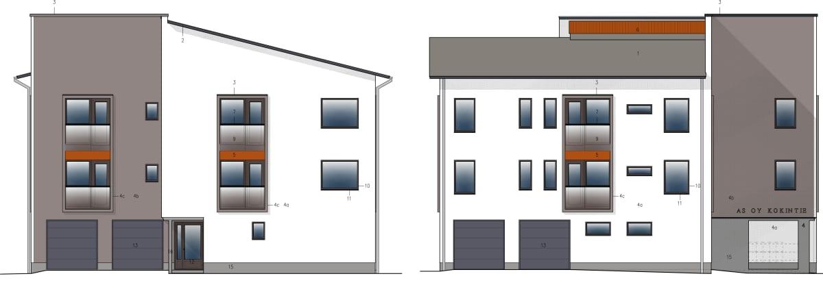Julkisivukuva talosta, jota mainostetaan lyhytaikaisen vuokraamisen sallivaksi.
