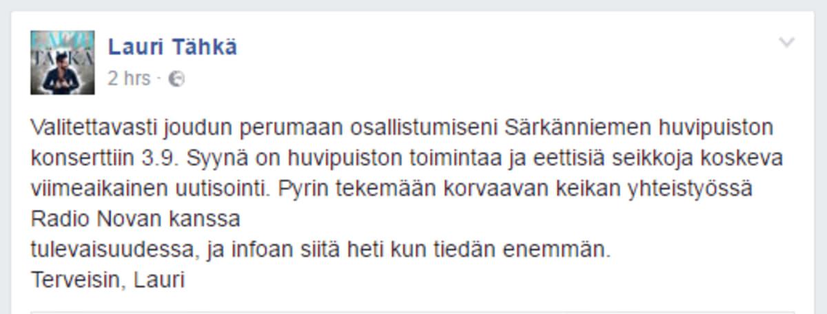 Kuvakaappaus Lauri Tähkän fb-päivityksestä.