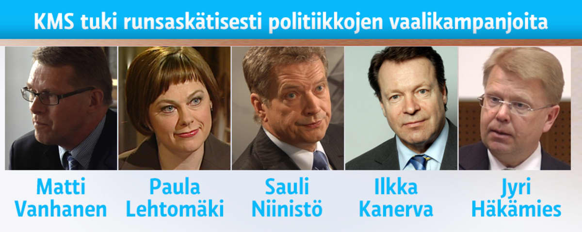Kehittyvien Maakuntien Suomen tukemia poliitikkoja: Matti Vanhanen, Paula Lehtomäki, Sauli Niinistö, Ilkka Kanerva ja Jyri Häkämies.