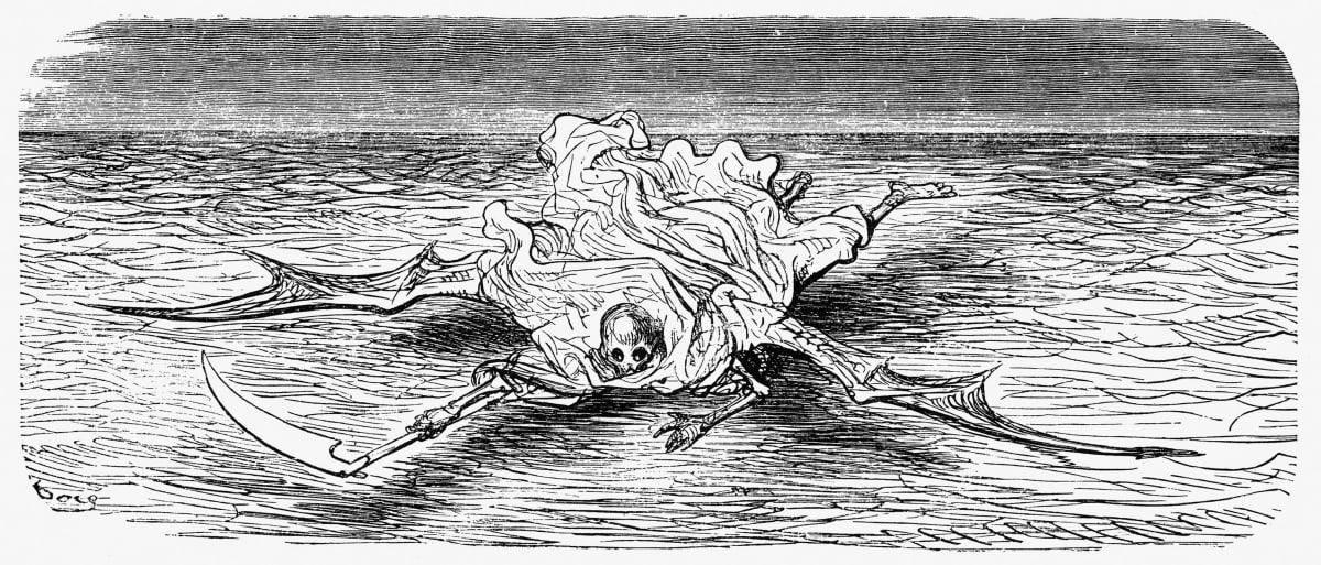 Kuolema veden yllä. Rabelaisin kirjan kuvitusta .