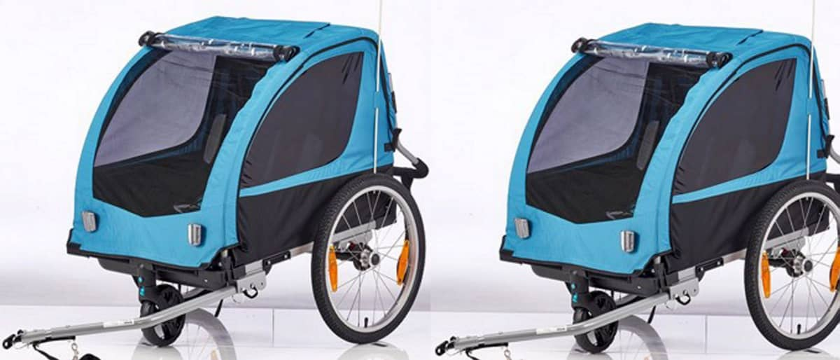 Polkupyörän perävaunu, sininen.