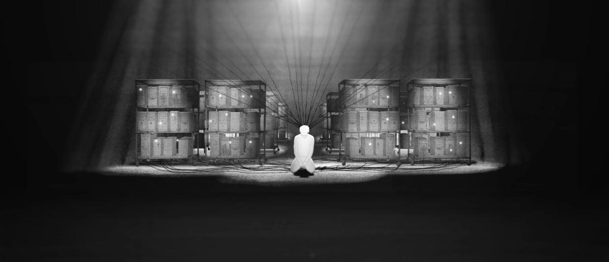 still-kuva elokuvasta Absolute Denial, piirretty mies polvillaan varastossa.