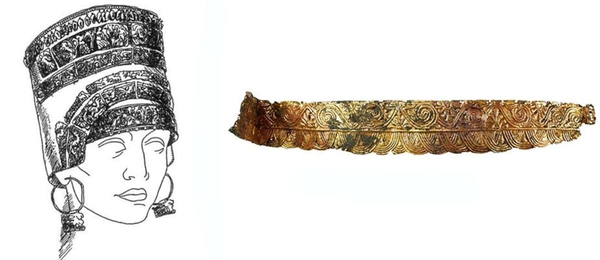 Koristeellinen metallipäähine avattuna vaakatasoon  sekä piirroskuva päähineestä naisen päässä.
