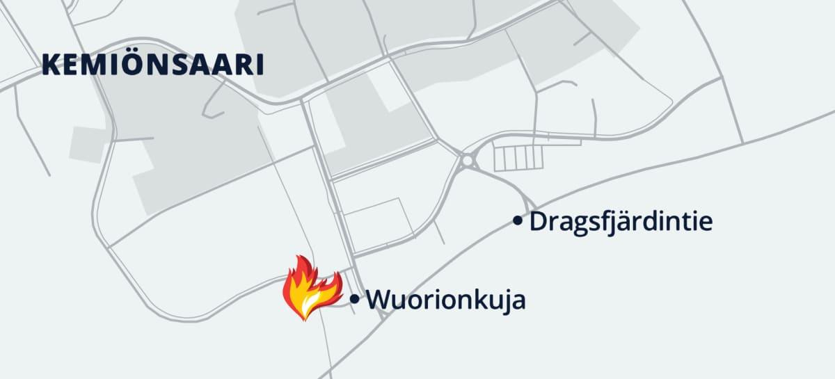 Kartta: tulipalo tavaratalo Hurrikaanissa Wuorionkujalla Kemiönsaaressa.