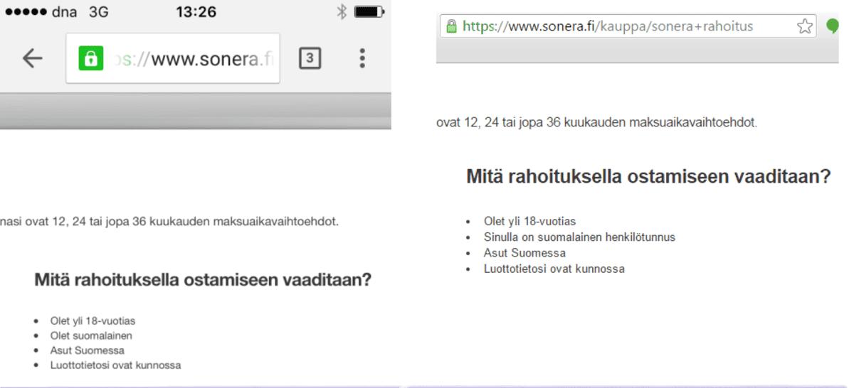 Kaksi kuvakaappausta Soneran verkkosivuilta. Helmikuussa Sonera sanoi verkkosivuillaan, että asiakkaan pitää olla suomalainen, jotta hän voi ostaa mobiililaitteita osamaksulla. Toukokuussa verkkosivuilla asiakkailta vaadittiin Suomen kansalaisuuden sijaan suomalainen henkilötunnus.