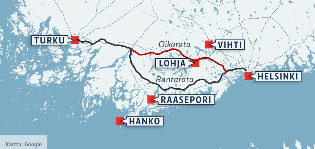 Kartta junaradasta välillä Turku - Helsinki