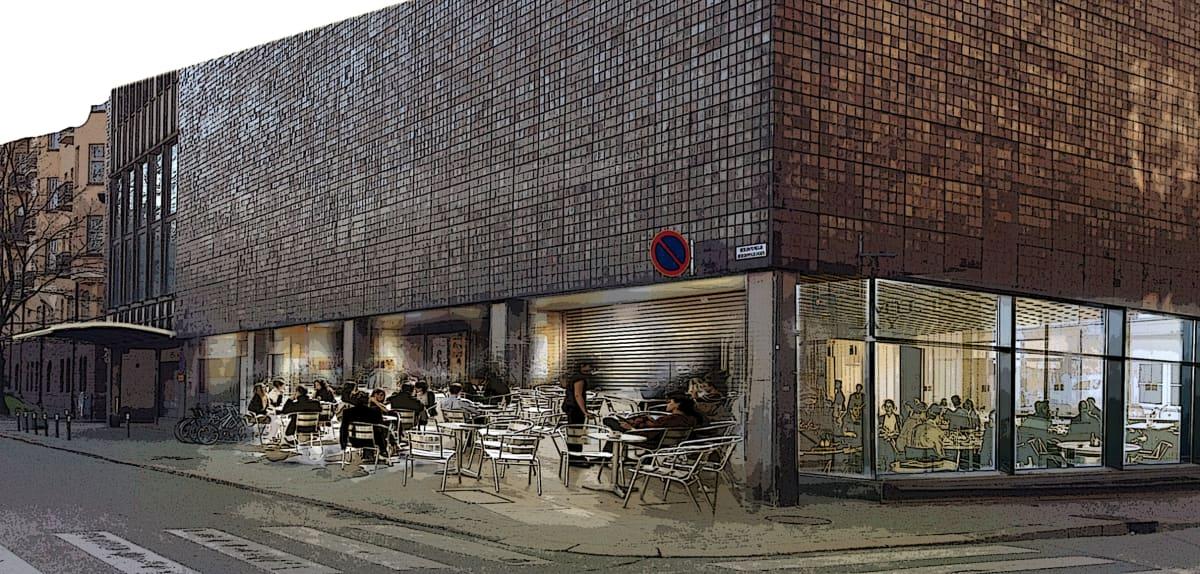 Havainnekuva Kansallisteatterin Willensaunan edustalle kaavaillusta ravintolasta Kaisaniemen puiston kulmassa.