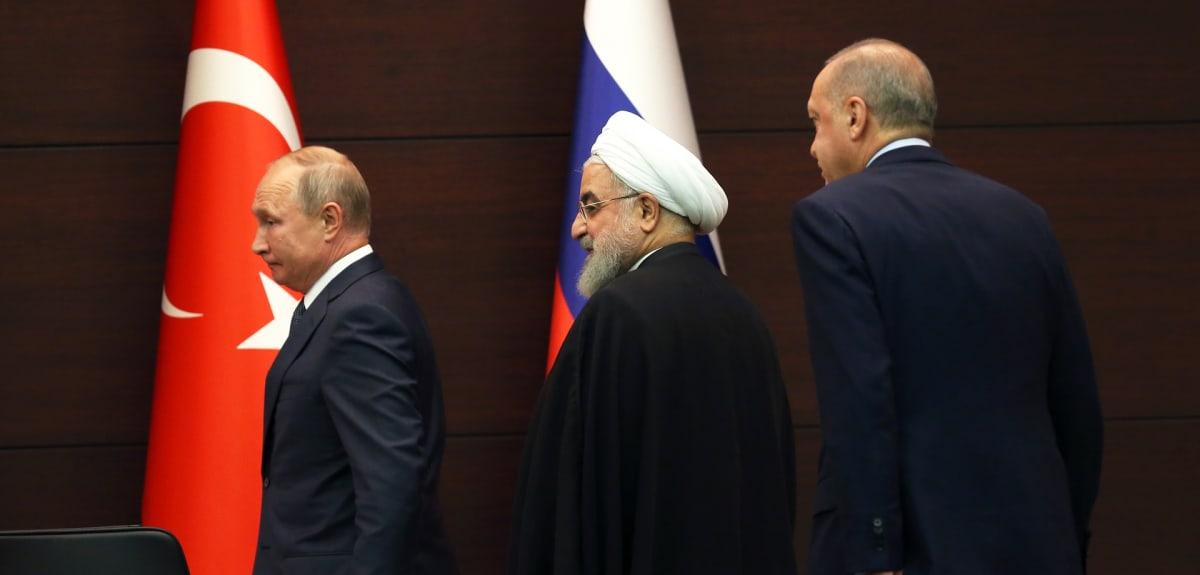 Vladimir Putin, Hassan Ruhani ja Recep Tayyip Erdogan.