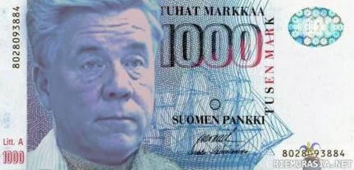 Meemi, jossa tuhannen markan setelissä Markku Ritaluoman kuva