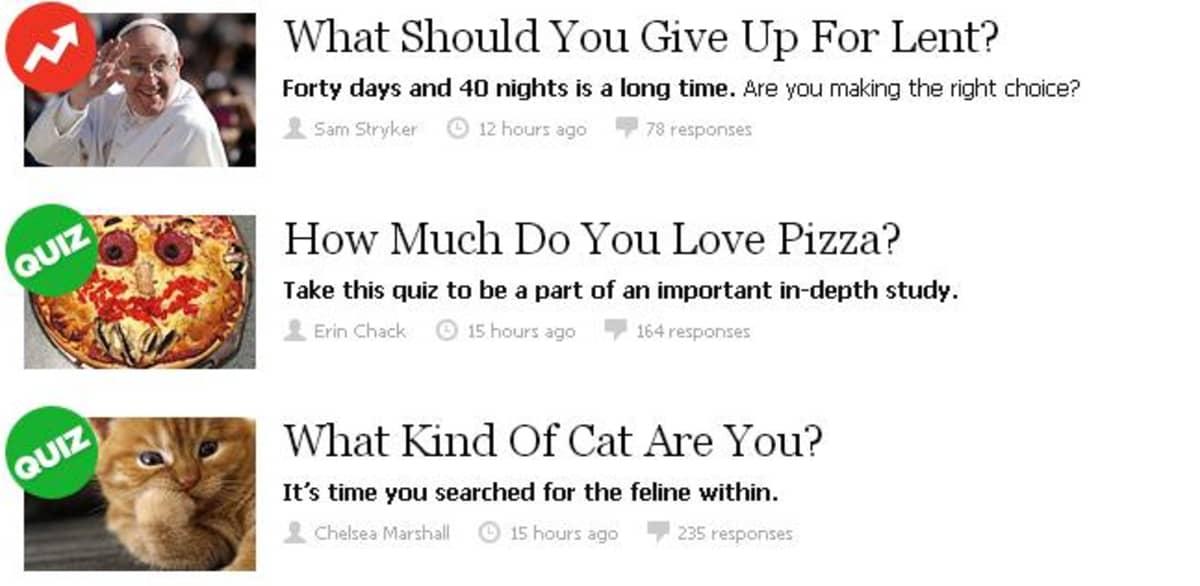 Yhdysvaltalaissivusto BuzzFeed julkaisee paljon kepeitä ja suosittuja testejä.
