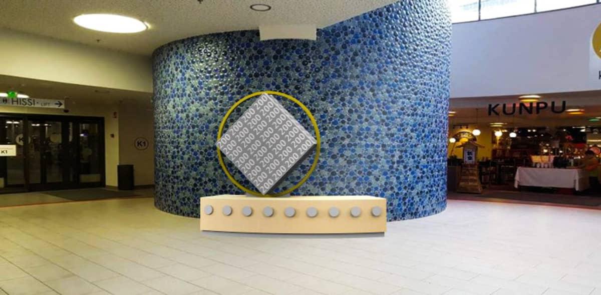 Savonia-ammattikorkeakoulun opiskelijan Eve Karkaman suunnittelma aikakapseli tulee Kuopiossa kauppakeskus Apajan aulaan.