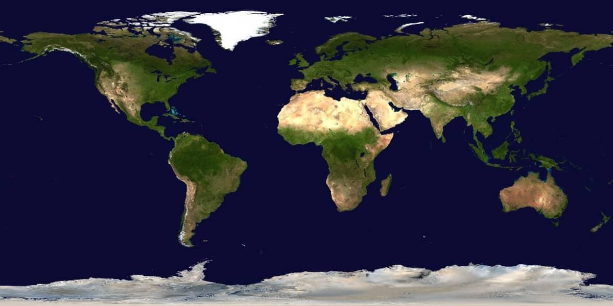 Satelliittikuva maapallosta vaakatasoon avattuna.
