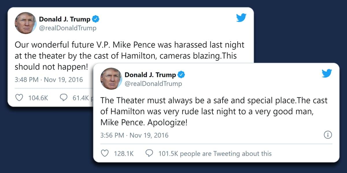 Kuvakaappaukset Twitteristä vuodelta 2016. Donald Trump paheksuu Hamilton-näyttelijöiden vetoomusta Mike Pencelle.