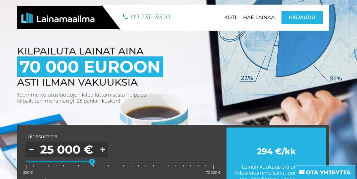 Kuvakaappaus Lainamaailman verkkosivulta.