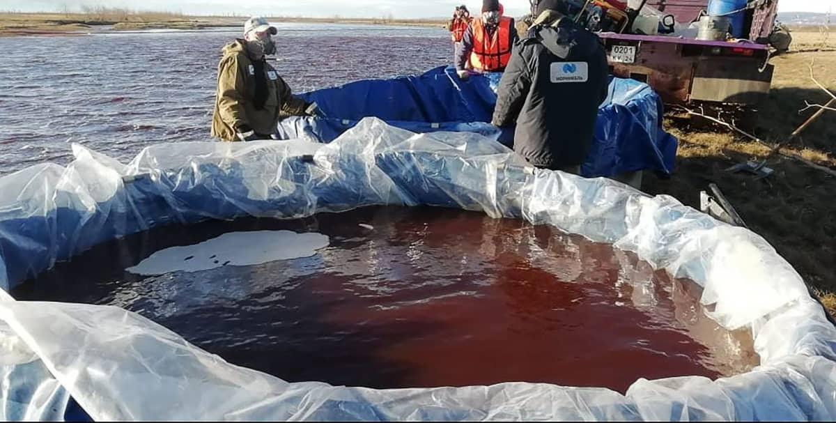Meripelastushenkilökunta pumppaa saastunutta aluetta Ambarba-joella.