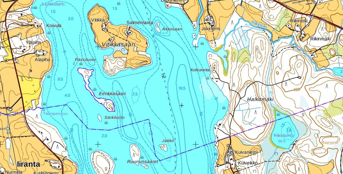 Kartta Iso-Ii -järvestä ja sen saarista