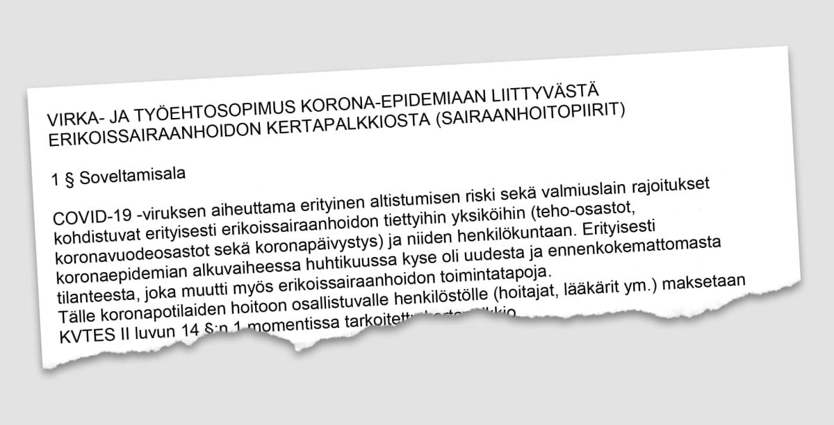 """Revinnäinen paperista jonka otsikko on """"VIRKA- JA TYÖEHTOSOPIMUS KORONA-EPIDEMIAAN LIITTYVÄSTÄ ERIKOISSAIRAANHOIDON KERTAPALKKIOSTA (SAIRAANHOITOPIIRIT)"""""""