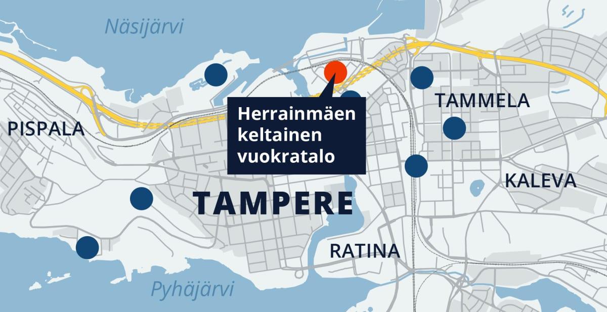 Tampereen kartta, Herrainmäen keltainen vuokratalo