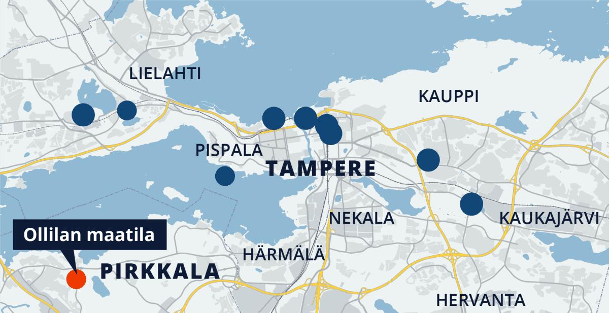 Tampereen kartta, Ollilan maatila Pirkkalassa
