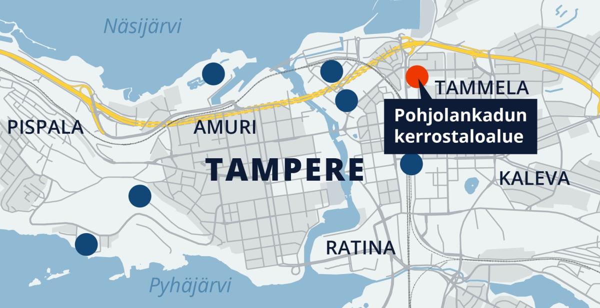 Tampereen kartta, Pohjolankadun kerrostalot