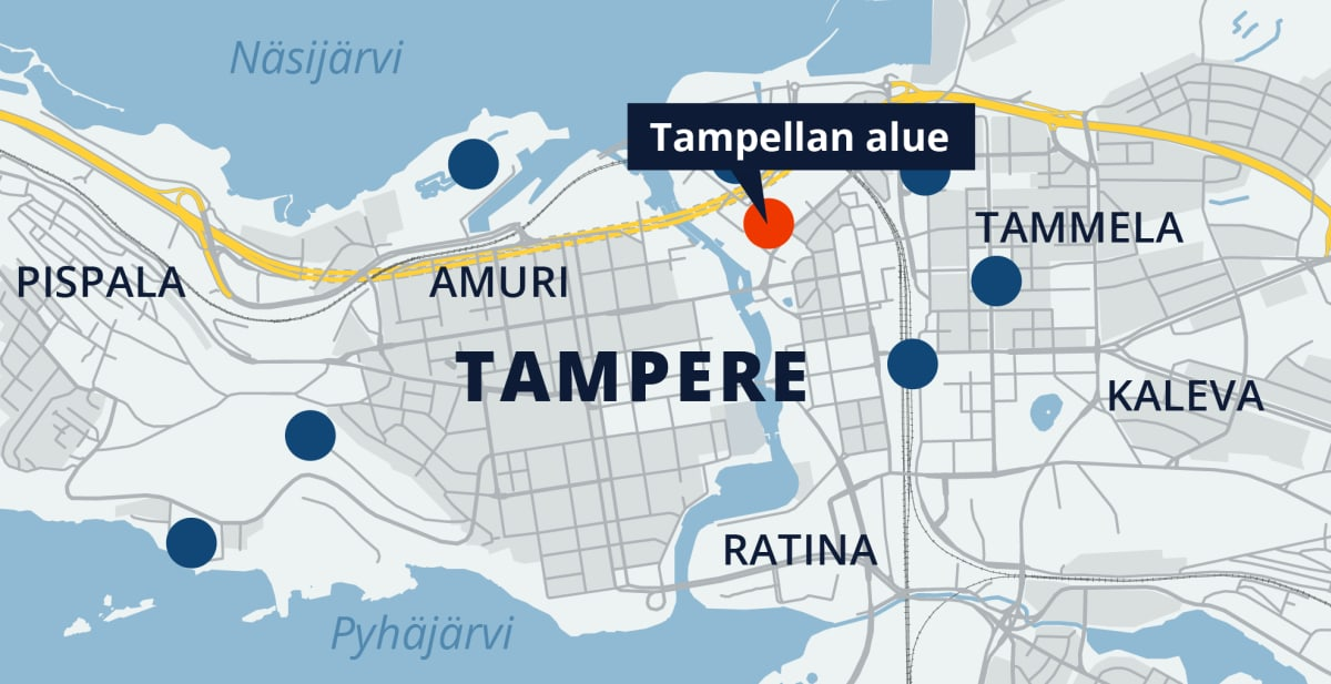 Tampereen kartta, Tampellan alue