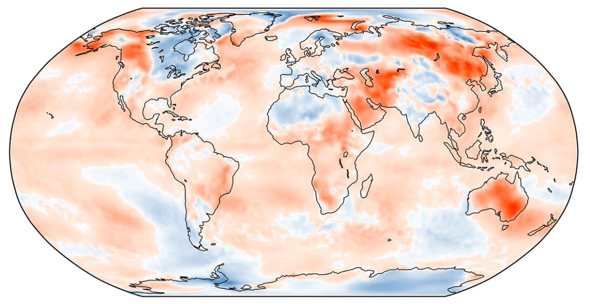Tammikuun 2019 lämpötilan poikkeama jakson 1981-2010 keskiarvosta. Lähde: C3S, ECMWF