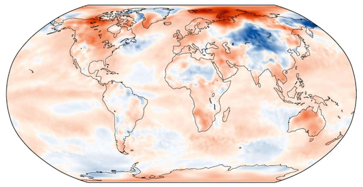 Joulukuun 2018 lämpötilan poikkeama jakson 1981-2010 keskiarvosta. Lähde: C3S, ECMWF