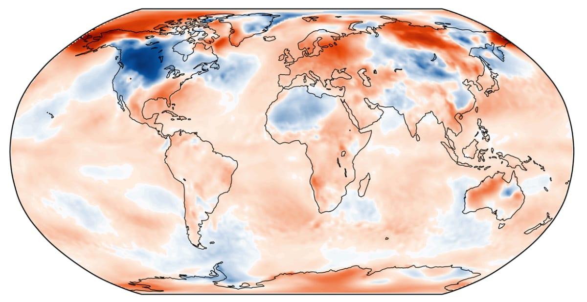 Helmikuun 2019 lämpötilan poikkeama jakson 1981-2010 keskiarvosta. Lähde: C3S, ECMWF