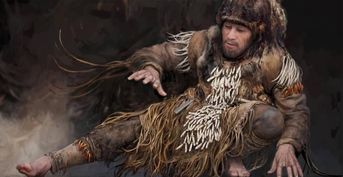 Piirroskuva paljain jaloin tanssivasta miehestä, jonka nahkavaatteet on koristeltu riippuvilla hirvenhammaskoruilla.