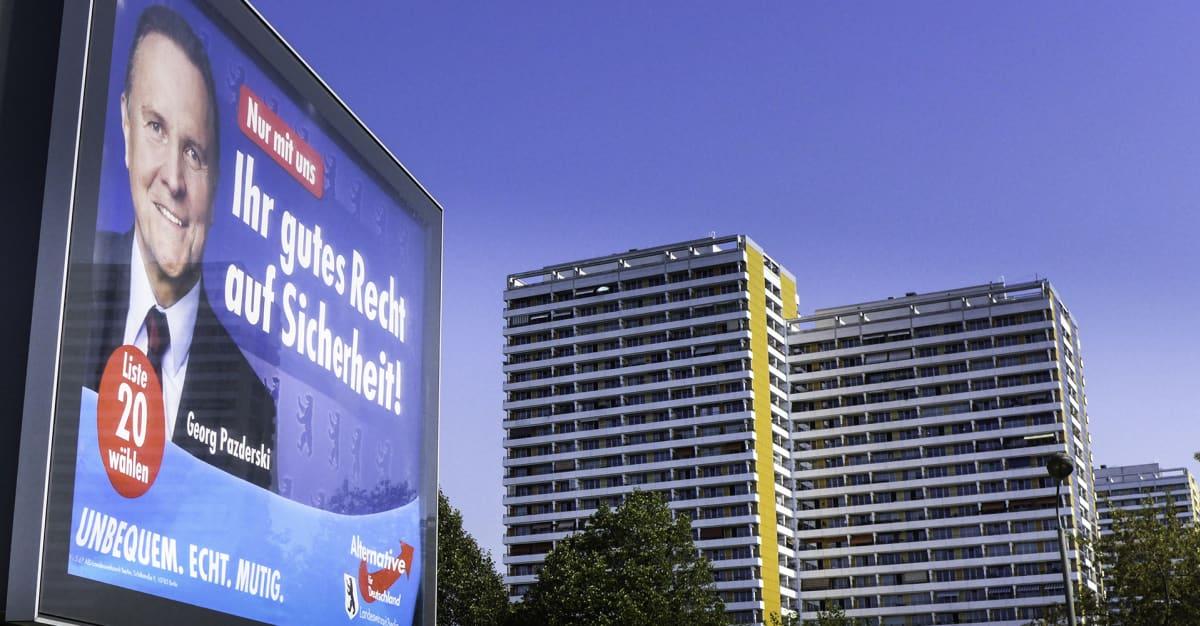 Vaihtoehto Saksalle -puolueen vaalimainos Berliinissä.