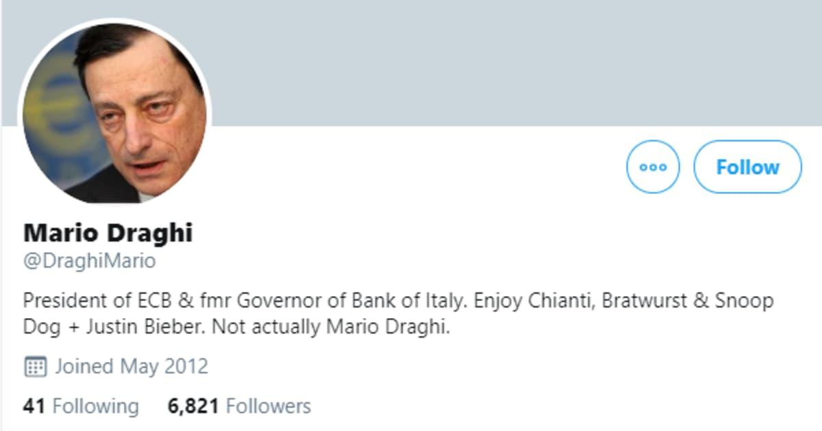 Eri some-kanavissa on Draghin nimiin tehtyjä parodiatilejä.