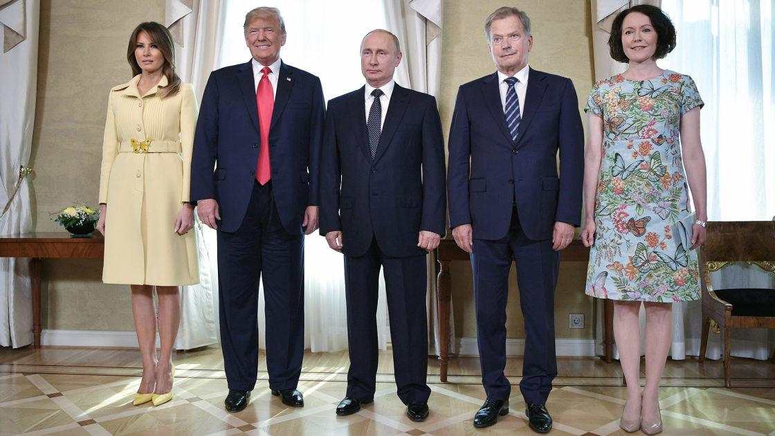 Ensimmäiset yhteiskuvat: Yhdysvaltain, Venäjän ja Suomen presidentit sekä puolisot tapasivat ...