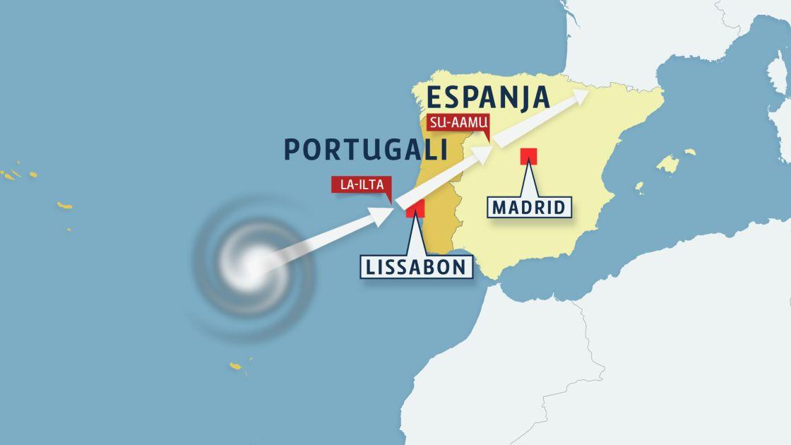 Lissaboniin Saapuu Illalla Hurrikaani Jatkaa Matkaansa Kohti