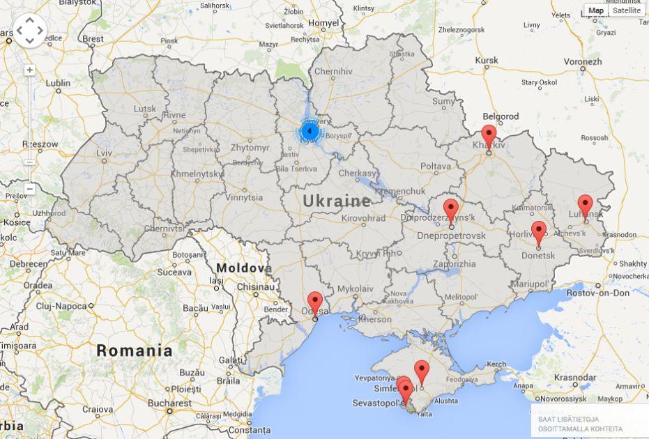 Taalla Ukrainan Kriisi Kytee Katso Keskeiset Paikat Kartalta