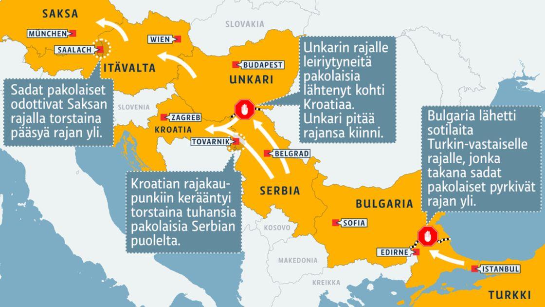 Turvapaikanhakijoiden Tie Kaantyi Kroatiaan Katso Kartta