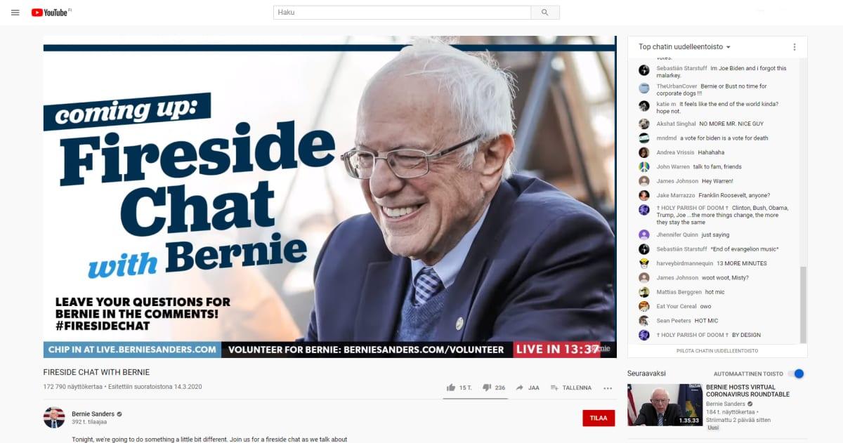 Kuvakaappaus Bernie Sandersin YouTube tililtä.
