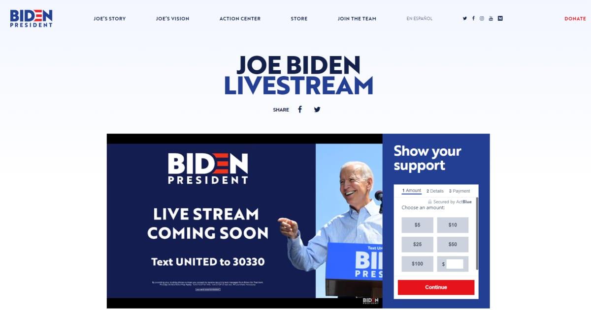 Joe Bidenin nettisivuilta kuvakaappaus.