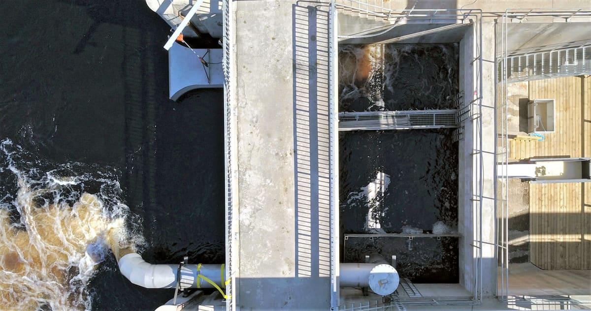 Pankakosken voimalaitokselle rakennettu vaelluskalojen kiinniottolaite ilmakuvassa.
