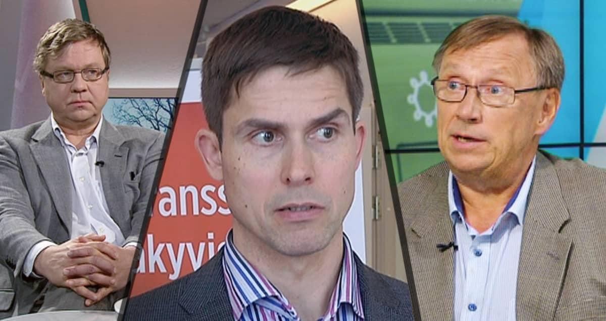 Apulaiskaupunginjohtaja Pekka Sauri, HKL:n toimitusjohtaja Ville Lehmuskoski ja  Länsimetro oy:n toimitusjohtaja Matti Kokkinen.