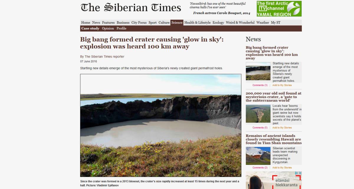 Kuvakaappaus Siberian Times -verkkosivuilta.