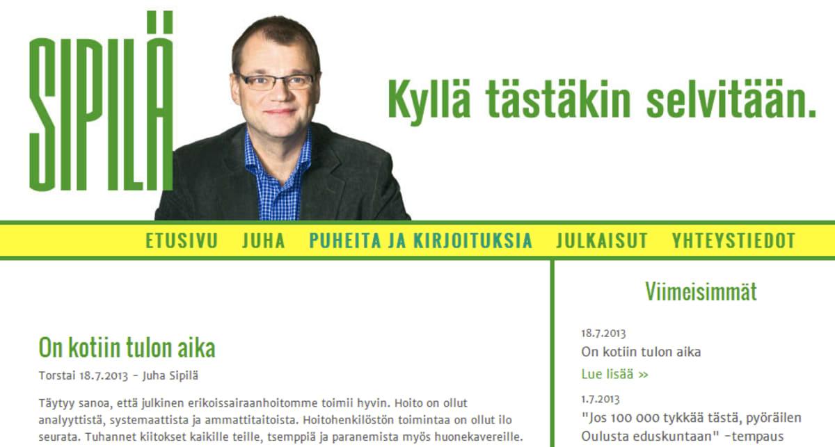 Juha Sipilän nettisivu