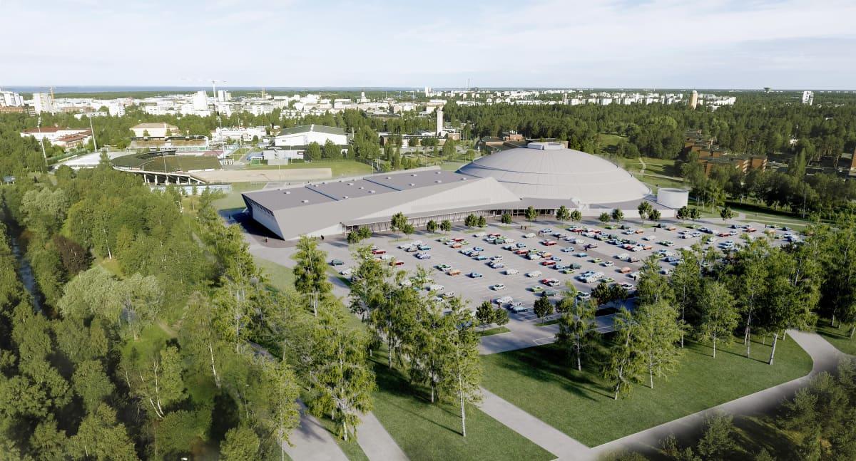 Havainnekuva Ouluhallin laajennuksesta