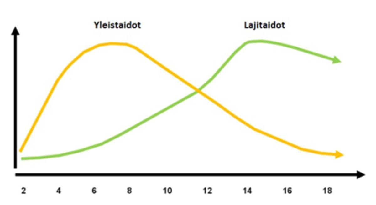 Yleistaitojen ja lajitaitojen harjoittelun painottuminen ja ajoittuminen eri ikävaiheissa.